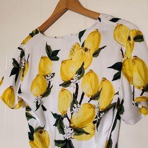 Lemon Print Wrap Dress